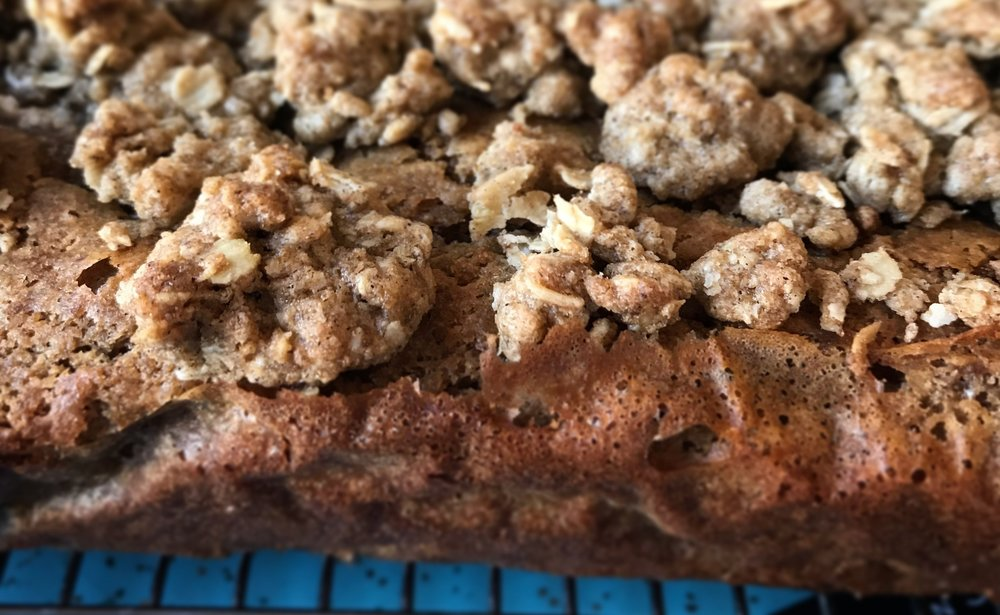 Close-up of buckwheat streusel over coffee cake. I live for streusel.