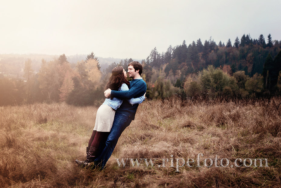 Conceptual portrait of couple in field in Oregon by Ripe Photography.
