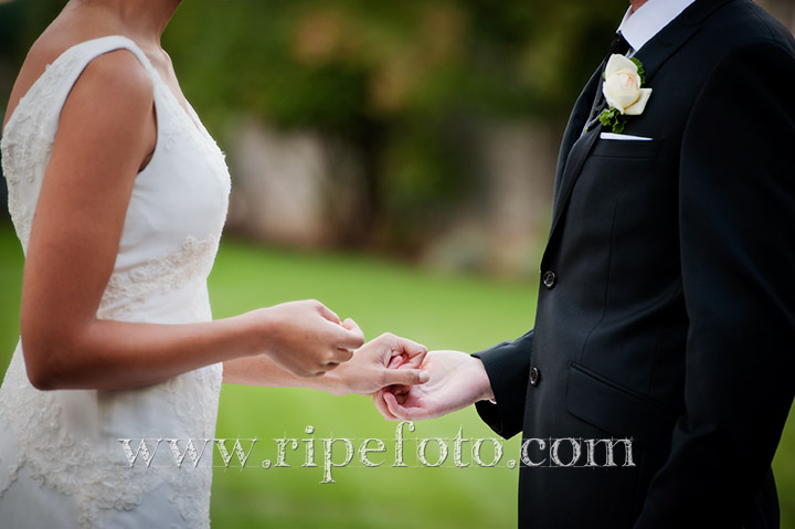 Portrait of ring exchange by Ripe Photography.