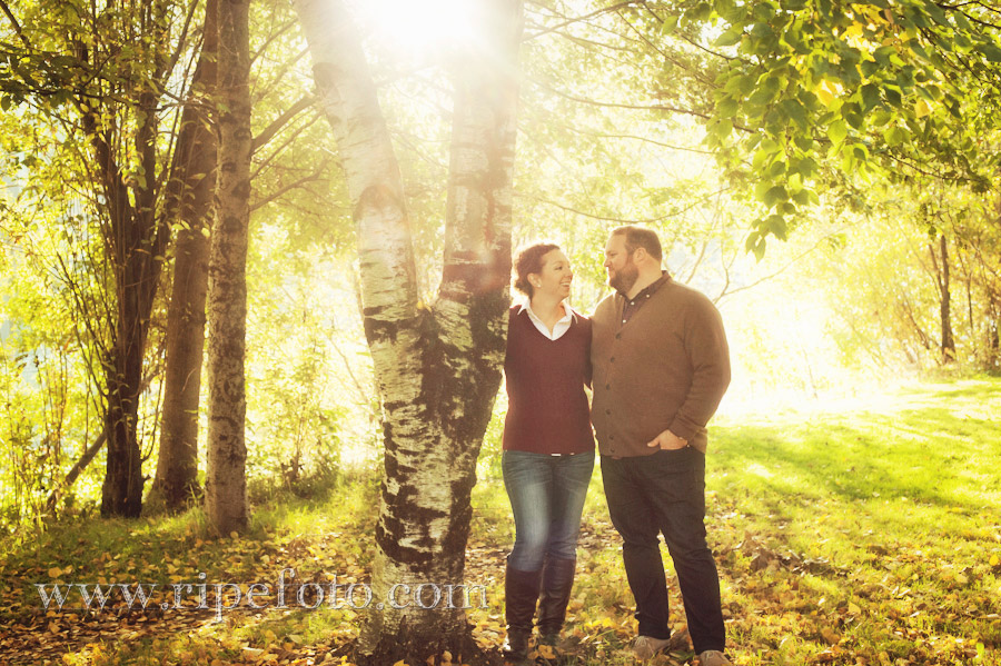 Portrait of couple in Cathedral Park in Portland, Oregon by Ripe Photography.
