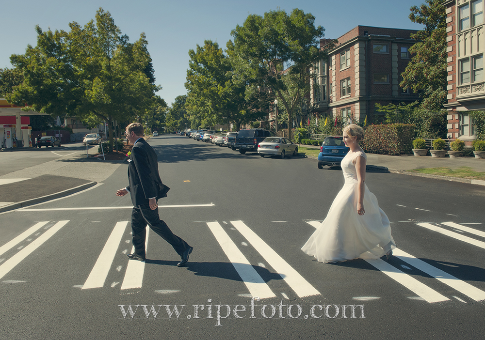 Beatles-inspired Abbey Road portrait of bride and groom in Tacoma, Washington by Oregon wedding photographer Ripe Photography.