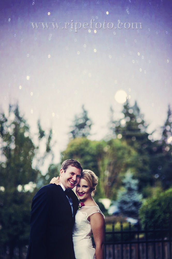 Portrait of bride and groom with starry sky and moon in Gig Harbor, Washington by Oregon wedding photographer Ripe Photographer.