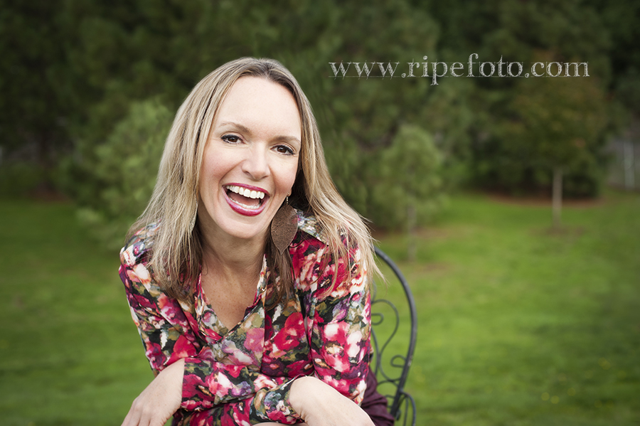 Portrait of woman on green background by Portland portrait photographer Ripe Photography.