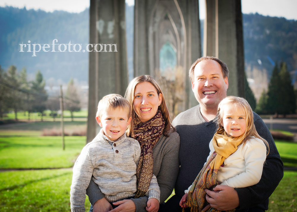 Portrait of family at Cathedral Park in Portland, Oregon by family photographers at Ripe Photography.