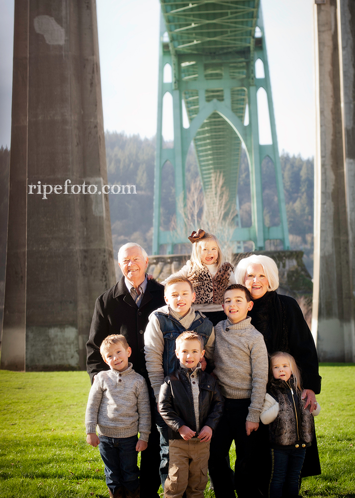 Portrait of grandparents and grandchildren at Cathedral Park in Portland, Oregon by Ripe Photography.