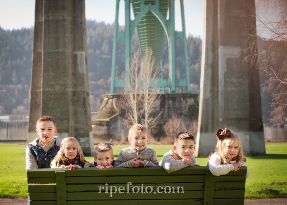 Portrait of cousins at Cathedral Park in Portland, Oregon by Ripe Photography.