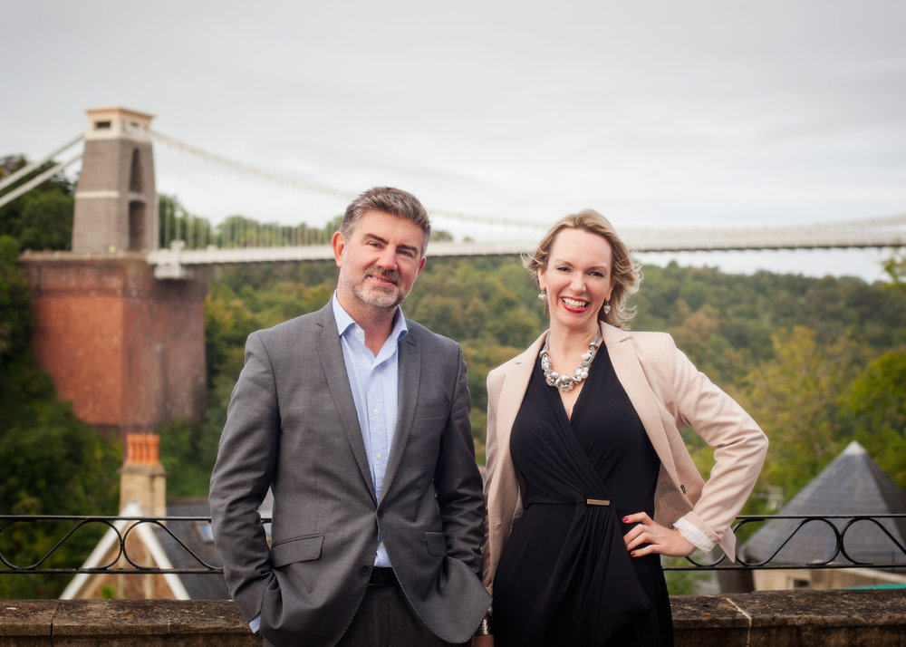 Commercial portrait of realtors on Bristol background by commercial photographers at Ripe Photography in the U.K.
