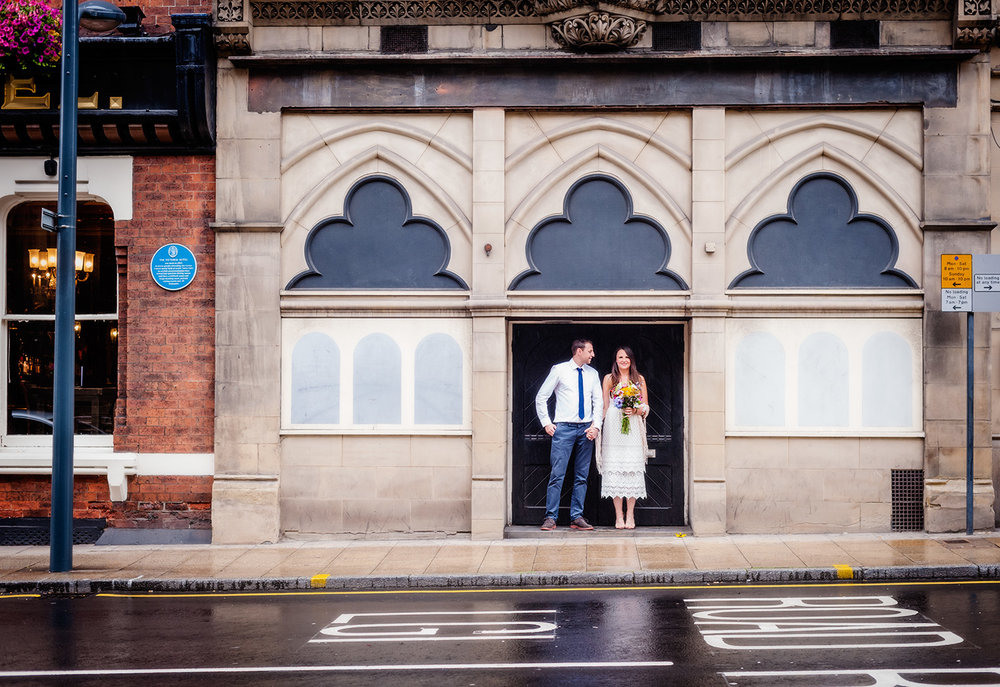 Portrait of wedding couple by wedding photographers at Ripe Photography in Leeds, England.