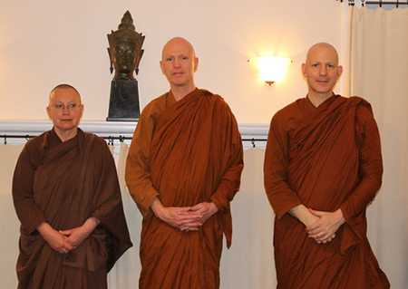 Ajahn Metta, Ajahn Sucitto and Ajahn Jayanto at the Insight Meditation Society, April 2014
