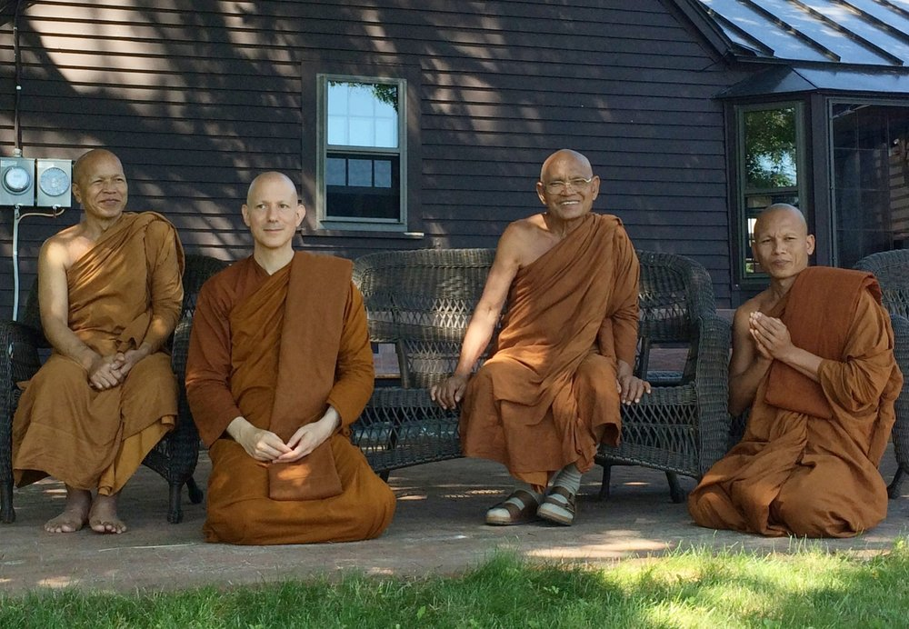 Left to right: Luang Por Jundee, Ajahn Jayanto, Luang Por Liem, Ajahn Seksan – at Temple in 2015