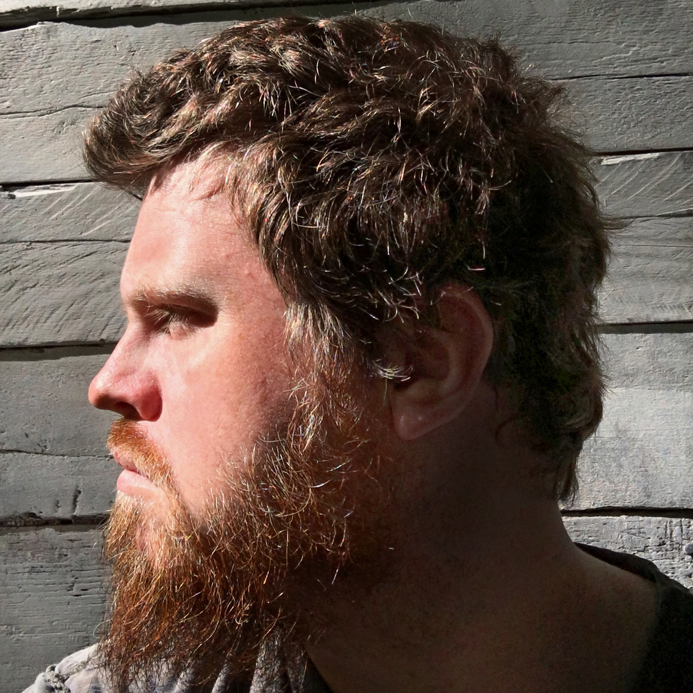 PROFILE PHOTOGRAPH - ONE PROFILE PHOTOGRAPH OF HUMAN ARTIST JOSEPH NICOLIA OF EARTH'S BEARD IN THE SUNLIGHT. ALSO THE REST OF HIS FACE IS SHOWN HERE, BUT AGAIN: PROFILE VIEW ONLY. FOR MORE PHOTOS OF THE ARTIST, PLEASE CREEP ON OVER TO THE FOLLOW PAGE, PLEASE