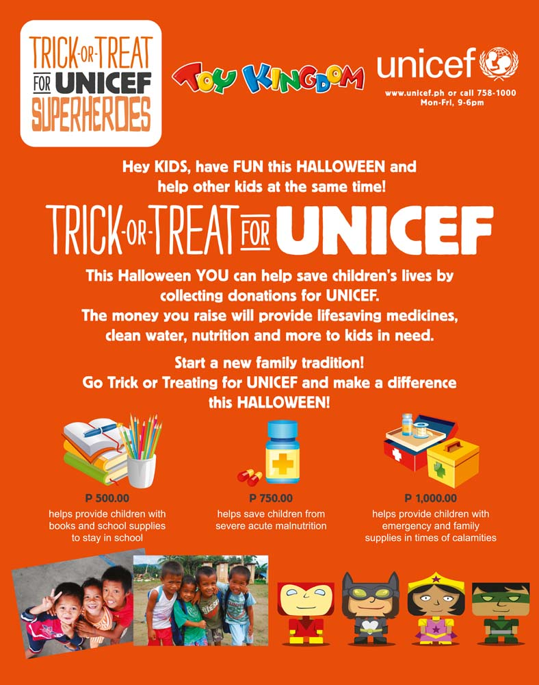 trick or treat for unicef How to order trick-or-treat for unicef boxes funds for trick or treat will go towards the eliminate project the eliminate project is a joint effort between unicef and the kiwanis family that aims.