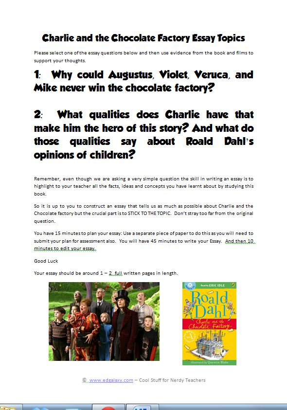 charlie  the chocolate factory teaching resources  edgalaxy cool  essay topicsjpg