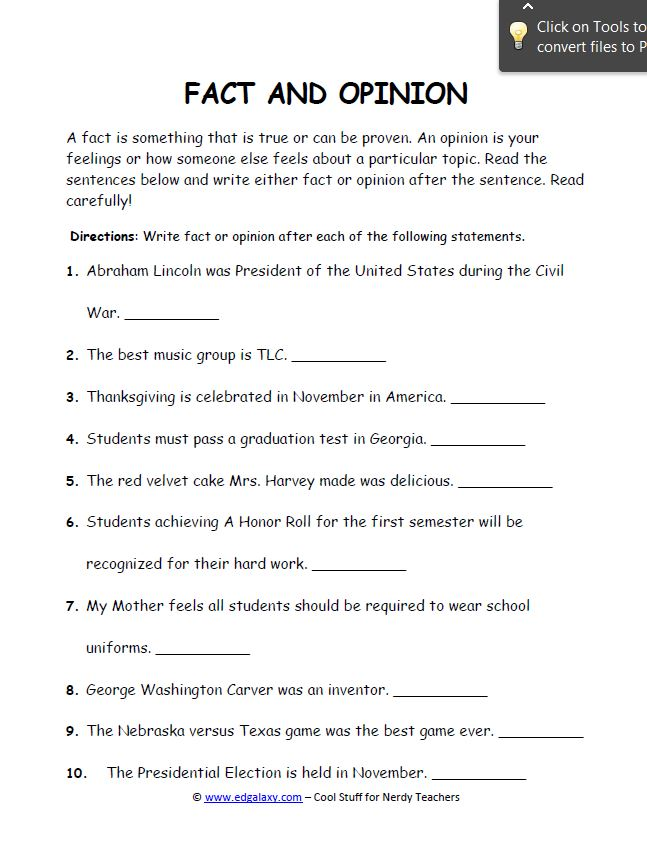 Fact and Opinion Worksheets for Students — Edgalaxy: Cool Stuff ...