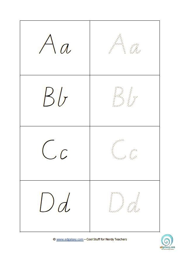 Free Cursive Letters Template to download and print