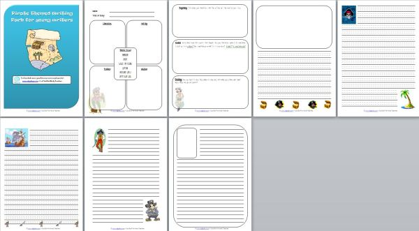 8 page pirate themed writing pack