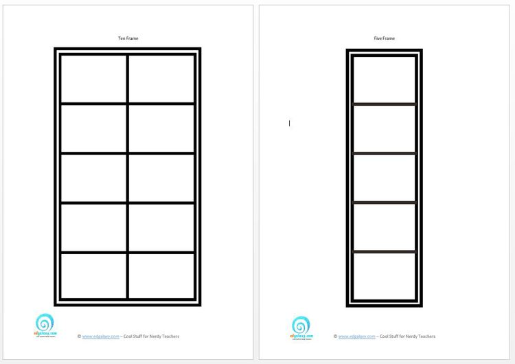 Ten frame printables for 10 frame template printable