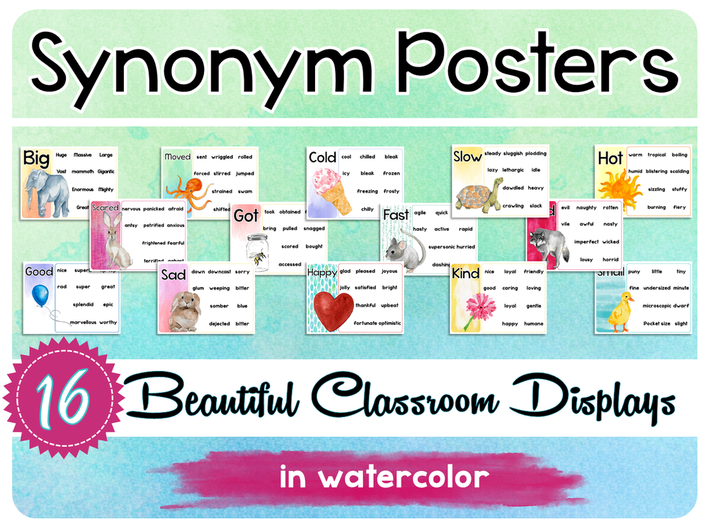 SYNONYM WATERCOLOR POSTERS