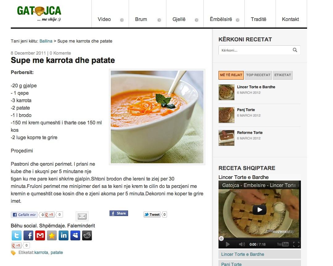 Supe me karrota dhe patate | Gatojca.info