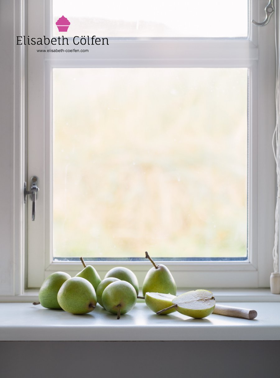 Wooden window with local pears