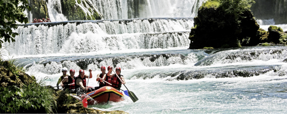 Rafting the Una River. One of the many adventure tourism activities in the Balkans.
