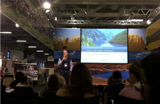 Jack Delf presenting at ITB Trade Fair. Berlin, Germany.