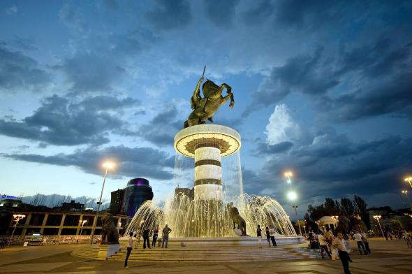 A bronze statue of Alexander the Great is the centerpiece of Skopje's main square. PHOTOGRAPH BY ROBERT ATANASOVSKI, GETTY IMAGES