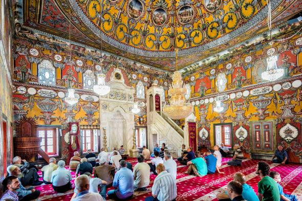 The interior of Tetovo's Painted Mosque is decorated with intricate geometric designs. GARDEL BERTRAND, ALAMY STOCK PHOTO
