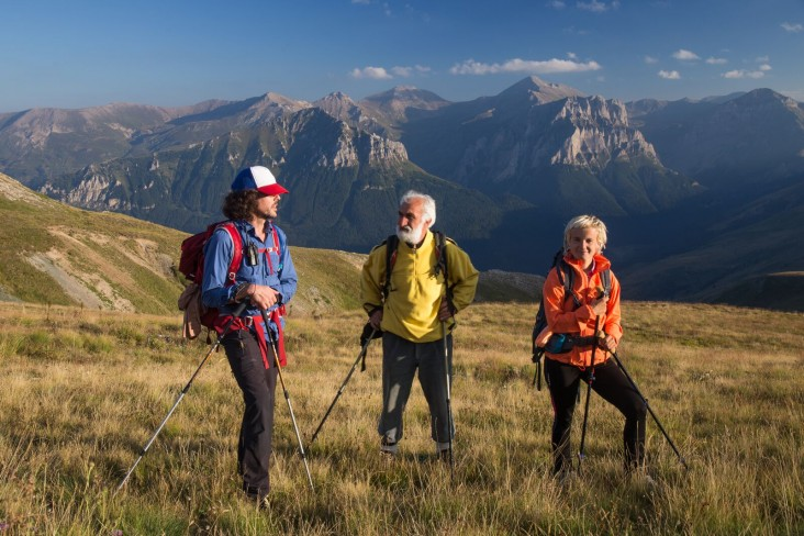Via Dinarica hikers trek in Macedonia along the Šar Mountains. The range forms the border between Macedonia and Kosovo. Left to right, Alex Crevar, Miroslav Donev (Aleksandar's father) and Uta Ibrahimi - Aleksandar Donev