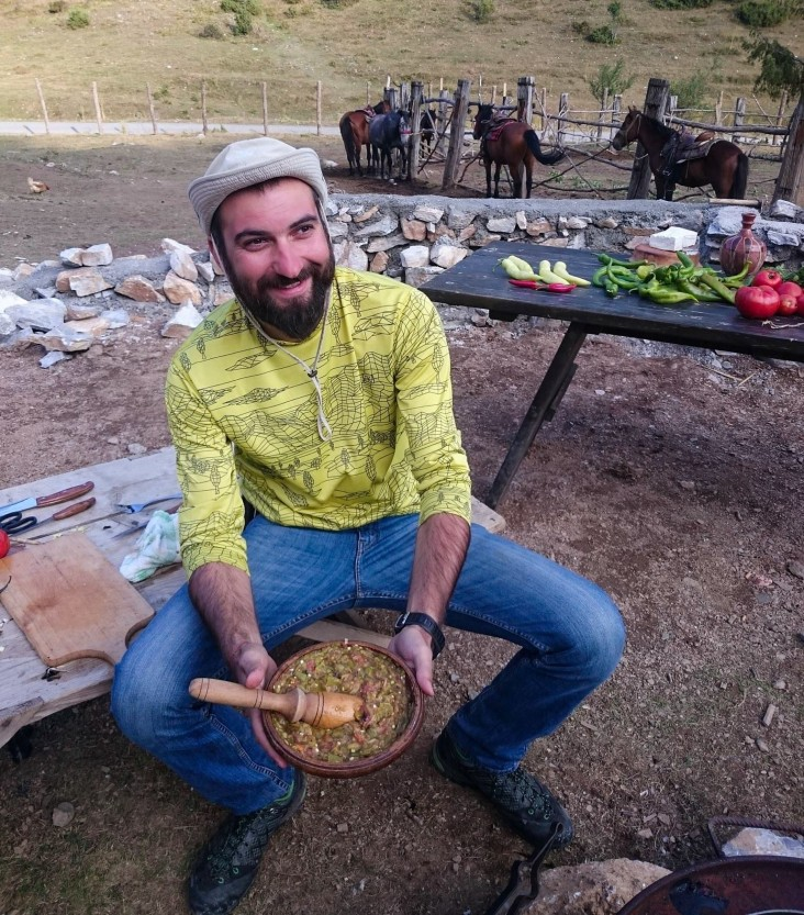 Aleksandar Donev prepares traditional pindzur, a type of relish, in the village of Galicnik after a long day of horseback riding on Bistra Mountain, Mavrovo National Park, Macedonia - Novagenus