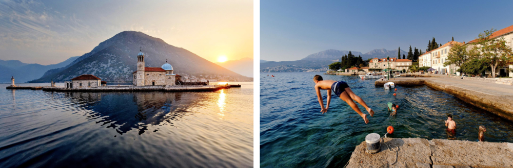 Left: The sun shines off the water near Our Lady of the Rocks church off the coast of Perast in the Bay of Kotor, Montenegro. Right: Children swim off the coast of the village of Rose, Montenegro. PHOTOGRAPH BY ERIC MARTIN, FIGAROPHOTO/REDUX