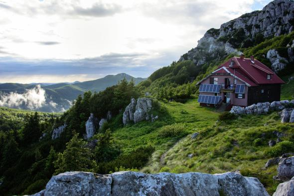 Schlosser Dom gleams in evening light after a thunderstorm. The hut is maintained by the Croatian government and offers refuge to hikers in Risnjak National Park.  PHOTOGRAPH BY LOIS PARSHLEY, NATIONAL GEOGRAPHIC