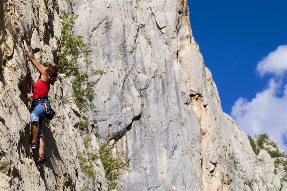 Climbing the limestone crags of Paklenica National Park in Croatia. Image by © diamirstudio / Getty Images