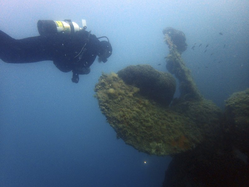 Maritime ecologist Derek Smith of the RPM Nautical Foundation observes a giant sponge coral growing on the propeller of Italian World War II shipwreck MV Probitas in Saranda Bay, southern Albania. The country is examining how best to study and protect its rich underwater heritage while opening it up to diving visitors in a nation that is virgin territory for the lucrative scuba diving industry. (AP Photo/Elena Becatoros)