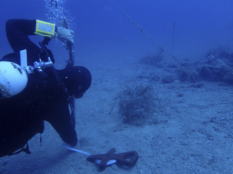 Maritime ecologist Derek Smith of the RPM Nautical Foundation takes measurements on sedimentation at the site of a 4th century A.D. shipwreck off the coast of Albania. On the seabed off the rugged shores of Albania, one of the world's least explored underwater coastlines, lies a wealth of treasures. Ancient amphorae that carried olive oil and wine; wrecks with hidden tales of heroism and treachery from two world wars; spectacular rock formations and marine life. (AP Photo/Elena Becatoros)