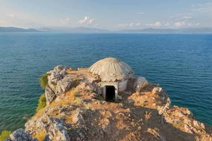 On the edge of Lake Ohrid, a Greek Orthodox shrine hides inside a bunker in Lin.