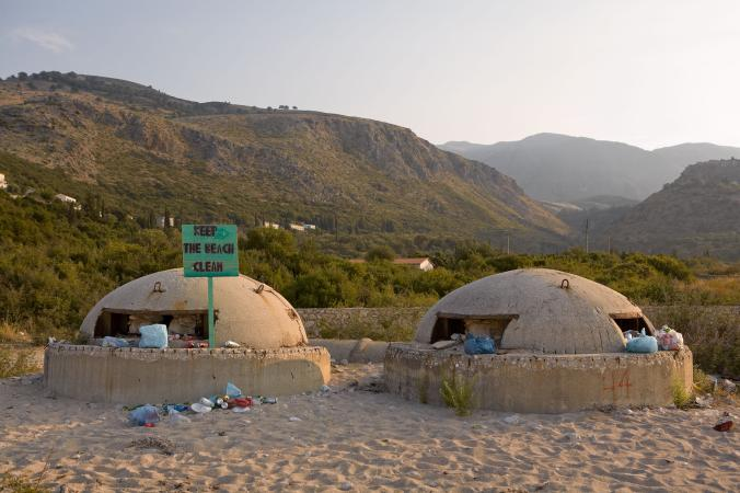 Bunkers fill with trash on Livadh beach.