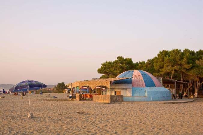 Painted like a beach ball, this bunker in Mali i Robit provides accomodation and a café with sweeping views of the Adriatic.