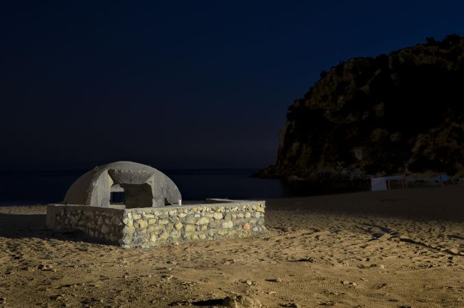 A barbeque pit turned this bunker into the perfect party spot on Livadh Beach.