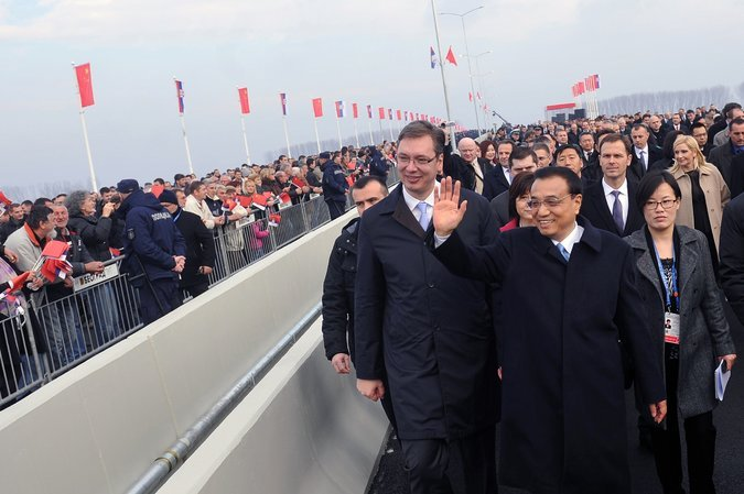 Prime Minister Li Keqiang of China, right, with Aleksandar Vucic, then Serbia's prime minister, during the opening ceremony of a Chinese-built bridge over the Danube in 2014.CreditAlexa Stankovic/Agence France-Presse — Getty Images