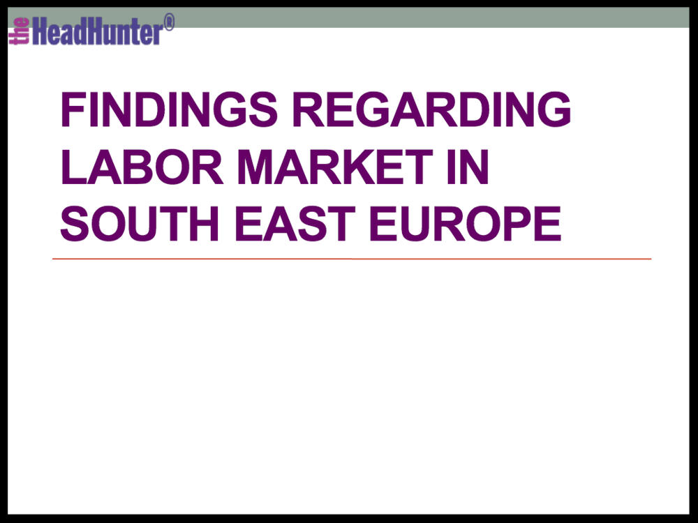 Findings Regarding Labor Market in South East Europe
