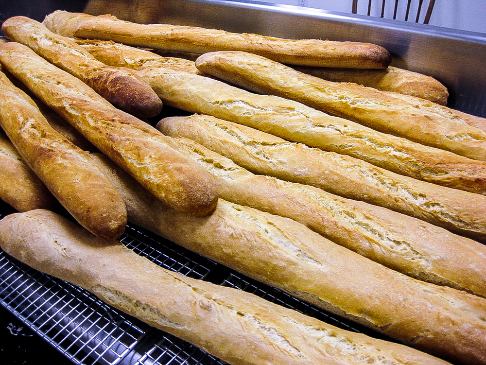 "Baguettes—""certified organic white flour, water, salt, yeast""—from Au Naturel Farm Bakery, Smith's Grove, Kentucky. Photo credit Alison Wiediger"