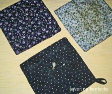 Backs of quilt-piece potholders