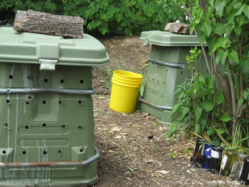 The lumbering duet of the compost bins