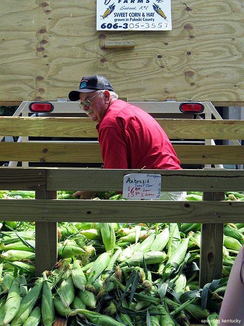 Briary Creek's Sam Livesay with his Pulaski County KY Ambrosia Sweet Corn