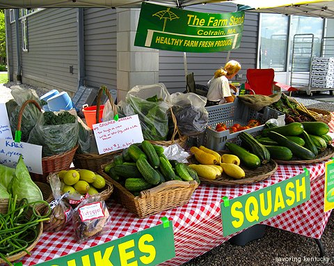 Fresh local vegetables from The Farm Stand at Colrain, sold at Lee Plaza East Mass. Turnpike rest area