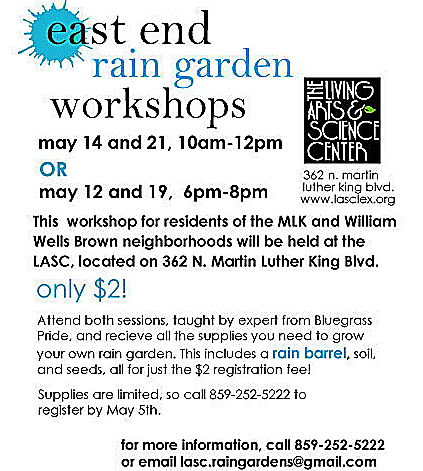 Flyer about East End rain garden workshops