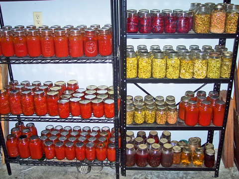 Part of a full pantry at the Roberts residence in Wayne County, Kentucky