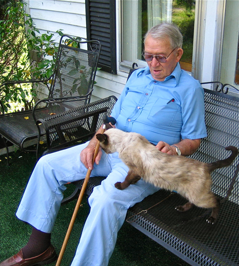 Lisle V. Roberts, age 93, on his front porch in beautiful Wayne County, Kentucky