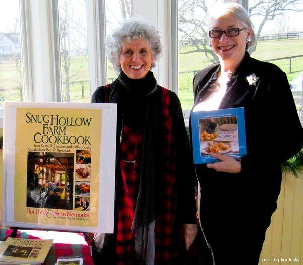 Barbara Napier, left, and Rona Roberts, signing Kentucky food books at Windy Corner Market, Lexington, Kentucky